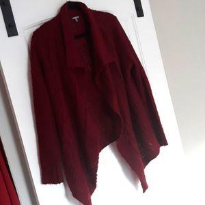 Loose knit maroon cardigan